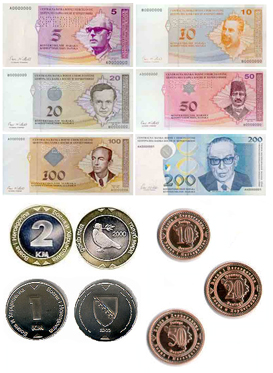 CURRENCY  BOSNIA AND HERZEGOVINA'S KONVERTIBILNA MARKA (BAM) = 100 PFENINGS. NOTES ARE IN DENOMINATIONS OF BAM 200, 100, 50, 20, 10 AND 5. COINS ARE AVAILABLE IN DENOMINATIONS OF BAM 5, 2 AND 1 AS WELL AS 50, 20, 10 AND 5 PFENINGS. MOST EURO NOTES - BUT NOT COINS - ARE WIDELY ACCEPTED.   THE EURO AND US DOLLAR ARE THE PREFERRED FOREIGN CURRENCIES. THE CENTRAL BANK OF BOSNIA AND HERZEGOVINA ACTS AS A CURRENCY BOARD AND IS THE SOLE AUTHORITY FOR THE ISSUE OF THE BOSNIA AND HERZEGOVINA KONVERTIBILNA MARKA. ALL MAJOR CREDIT CARDS ARE WIDELY ACCEPTED AND ATMS CAN BE FOUND IN ALL URBAN AREAS FREQUENTED BY TOURISTS.  CREDIT CARDS ARE ACCEPTED.  BANKING HOURS REGULAR BANKING HOURS ARE MON-FRI  08.00-19.00. MOST BANKS ARE ALSO OPEN ON SATURDAY MORNING. EXCHANGE RATE INDICATORS.  EXCHANGE RATE INDICATORS CURRENCY BOARD KEEPS KONVERTIBILNA MARKA PEGGED TO THE EURO. THEREFORE, THE EXCHANGE RATE BETWEEN TWO CURRENCIES IS FIXED AT €1.00= BAM 1.95583 SINCE THE EURO'S INTRODUCTION IN 1999.