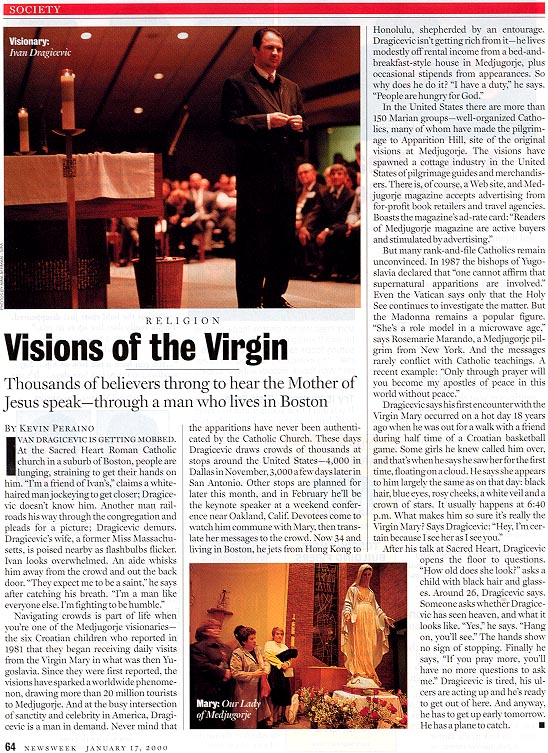 January 17, 2000 Newsweek Magazine article on visionary Ivan Dragicevic