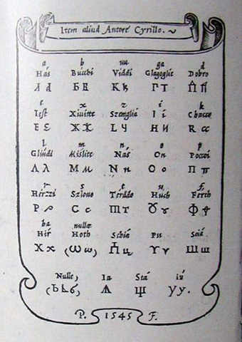 1545 IN ROME, AN ITALIAN ENCYCLOPAEDIST GIOVANNI BATISTA PALATINO PRESENTED THE GLAGOLITIC (SEE [THE PHOTO]) AND CYRILLIC SCRIPT (SEE ON THE RIGHT)   IN THE SECOND EDITION OF HIS BOOK LIBRO NOUVO (LIBRO NEL QUAL S'INSEGNA A SCRIVERE OGNI SORTE LETTERA, ANTICA ET MODERNA...), AMONG 29 SCRIPTS