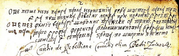 "CROATIAN NOBLES WERE FAMILIAR NOT ONLY WITH THE CROATIAN GLAGOLITIC SCRIPT, BUT ALSO WITH CROATIAN CYRILLIC. WE CAN ILLUSTRATE THIS WITH THE FOLLOWING TEXT SIGNED BY PETAR   ZRINSKI (1621-1671) OUTSTANDING CROATIAN STATESMAN AND WRITER. IT IS CONTAINED IN THE ""LIBAR OD SPOMINKA"" (BOOK OF REMEBRANCES) WRITTEN BY KATARINA ZRINSKA (1625-1673)."