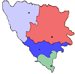 MAP OF BOSNIA AND HERZEGOVINA IT DEPICTS THE NATION'S DIVISIONS INTO BISHOPRICS IN THE CATHOLIC CHURCH.  VRHBOSNA ARCHBISHOPRIC - RED       BANJA LUKA BISHOPRIC - GRAY       MOSTAR-DUVNO BISHOPRIC - BLUE       TREBINJE BISHOPRIC - LIGHT BLUE      THE ROMAN CATHOLIC CHURCH IN BOSNIA AND HERZEGOVINA IS PART OF THE WORLDWIDE ROMAN CATHOLIC CHURCH, UNDER THE SPIRITUAL LEADERSHIP OF THE POPE AND CURIA IN ROME.