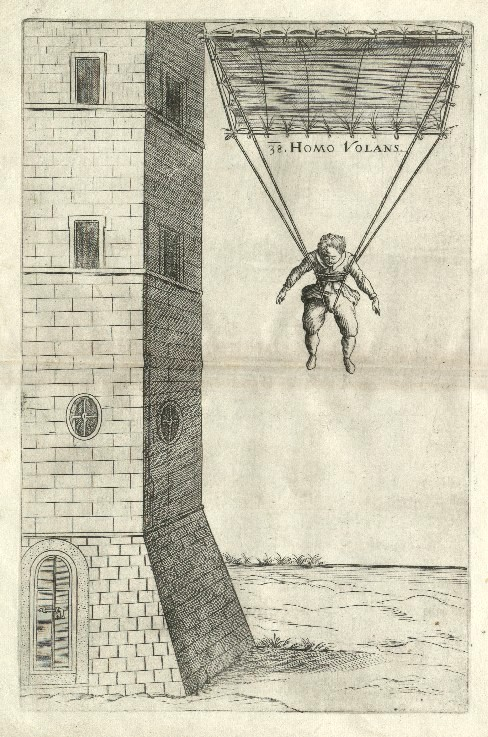 FAUSTO VERANZIO HOMO VOLANS - MACHINAE NOVAE PLATE N. 38: VERANZIO'S PARACHUTE - FROM MACHINAE NOVAE, BOOK PUBLISHED IN VENICE, 1595.- AUTHOR FAUSTO VERANZIO