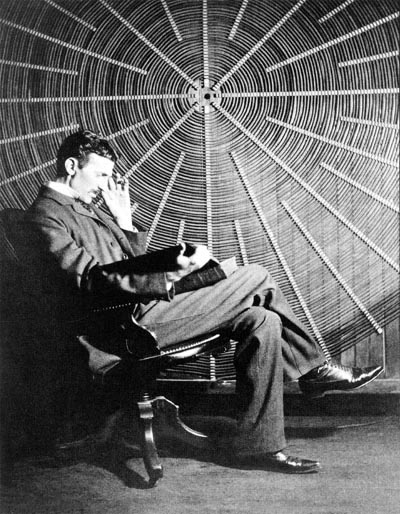 NIKOLA TESLA, WITH RUDER BOŠKOVIC'S BOOK THEORIA PHILOSOPHIAE NATURALIS, SITS IN FRONT OF THE SPIRAL COIL OF HIS HIGH-FREQUENCY TRANSFORMER AT EAST HOUSTON STREET, NEW YORK. - NIKOLA TESLA  BORN 	10 JULY 1856 (1856-07-10) SMILJAN (CROATIAN MILITARY FRONTIER) (TODAY CROATIA) DIED 	7 JANUARY 1943(1943-01-07) (AGED 86) HOMELAND: CROATIAN - FIELDS 	MECHANICAL AND ELECTRICAL ENGINEERING