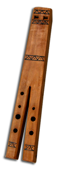 THE DVOJNICA IS ACTUALLY TWO PIPES, TWO JEDINKAS MADE FROM ONE PIECE OF WOOD, WHICH CAN BE PLAYED SIMULTANEOUSLY. THE MUSIC OF THE DVOJNICA IS ALWAYS TWO-PART, USUALLY IN THIRDS, ALTHOUGH OTHER COMBINATIONS BETWEEN TONES ARE ALSO POSSIBLE. LIKE MOST TRADITIONAL INSTRUMENTS, THE DVOJNICA IS LIMITED IN ITS REGISTER OF TONES. ONE CAN PLAY AT MOST SIX SOUNDS IN A GIVEN OCTAVE. BY BLOWING, IT IS SOMETIMES POSSIBLE TO PLAY CERTAIN TONES IN SEVERAL OCTAVES, BUT THE INTONATION IS USUALLY NOT PURE. IT IS INTERESTING HOW THE SLANTING OF DVOJNICA TOWARDS THE MOUTH OF THE PLAYER WHILE PLAYING CAN ACHIEVE AN EFFECT IN WHICH ONE SIDE OF THE DVOJNICA PLAYS IN THE NORMAL AND THE OTHER SIDE IN A HIGHER OCTAVE.  DVOJNICE FROM THE PEAR TREE
