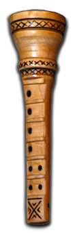 THE MIH FROM THE ISLANDS RAB  THE MIH FROM THE ISLANDS OF RAB, PAG AND CRES IS VERY SIMILAR TO THE CENTRAL DALMATIAN MIH AND HAD THE SAME POSITION OF HOLES ON THE PIPE (6-2). THE ONLY DIFFERENCE IS THAT THE ISLAND MIH IS SOMEWHAT SIMPLER IN ITS APPEARANCE; IT HAS A BAG, A SIMPLE BLOWPIPE (USUALLY MADE ONLY FROM REED) AND A PIPE. ON THE ISLAND OF RAB ONE CAN ALSO FIND MIH PIPES WITH THE OPPOSITE POSITIONING OF HOLES FOR PLAYING. THERE AREA USUALLY SIX HOLES ON THE RIGHT SIDE AND TWO ON THE LEFT SIDE TWO, WHILE SOME MUSICIANS ON THE ISLAND OF RAB USE PIPES THAT HAVE SIX HOLES ON THE LEFT SIDE AND TWO ON THE RIGHT SIDE. THIS DOES NOT INFLUENCE THE QUALITY OF PLAYING AND DEPENDS ONLY ON THE INDIVIDUAL PREFERENCES OF THE MUSICIANS.