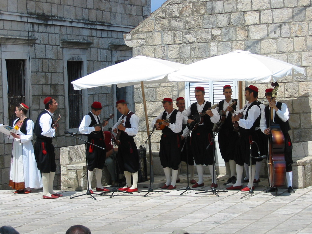 FOLK DANCERS FROM ČILIPI - MUSICIANS FOR THE FOLK DANCES, ĆILIPI, CROATIA, 2005 - COSTUME FROM THE DUBROVNIK AREA, SOUTHERN DALMATIA