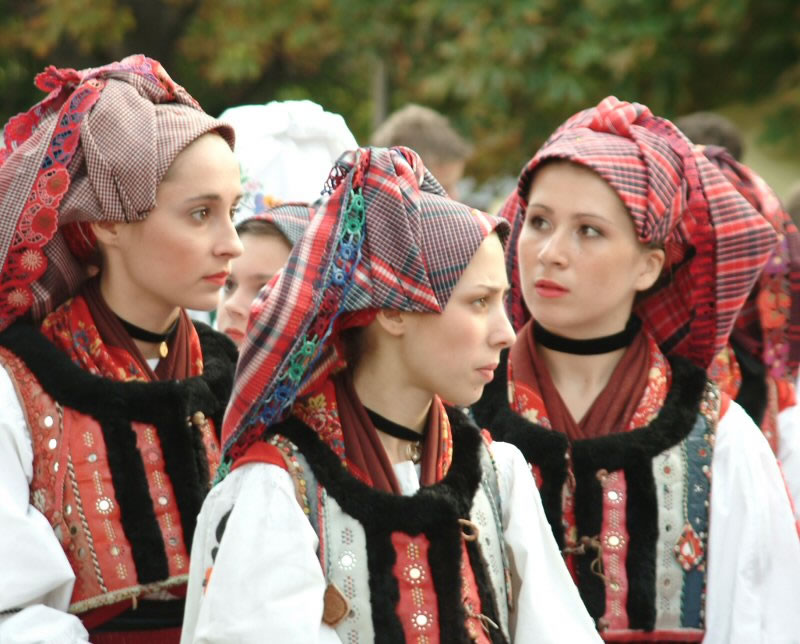 CROATIAN NATIONAL DRESS FROM HUNGARY. CROATIAN GIRLS IN FOLKLORE COSTUME IN HUNGARY