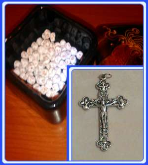 ROCK-CS - Crucfixes & Stone beads from Medjugorje (Rosario) set of 100-500 beads hand made of stone