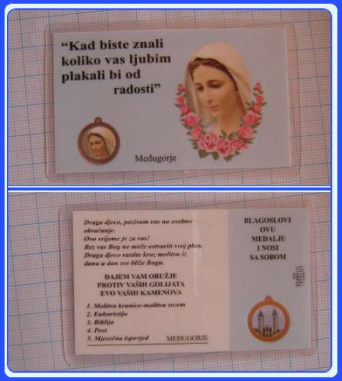 PC_CR104 Medjugorje Prayer Medal Card - Croatian